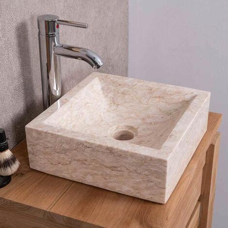lavabo sobre encimera cuarto de baño ALEJANDRÍA cuadrado 30 x 30 cm crema