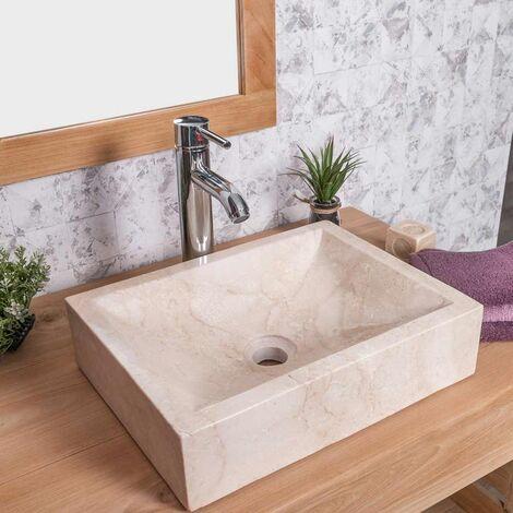 lavabo sobre encimera cuarto de baño ALEJANDRÍA rectángulo 30 x 40 cm crema