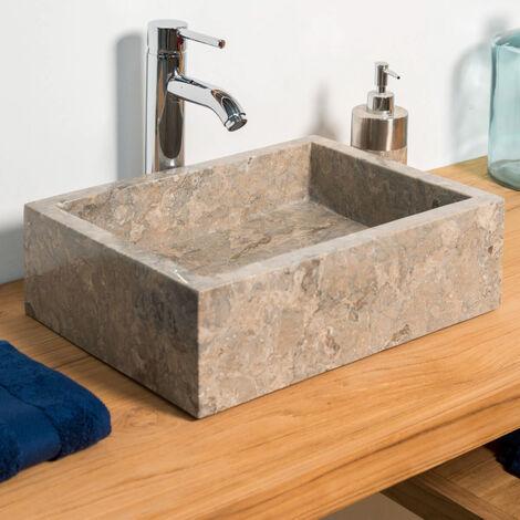 Lavabo sobre encimera cuarto de baño Milán rectángulo 30 x 40 cm gris