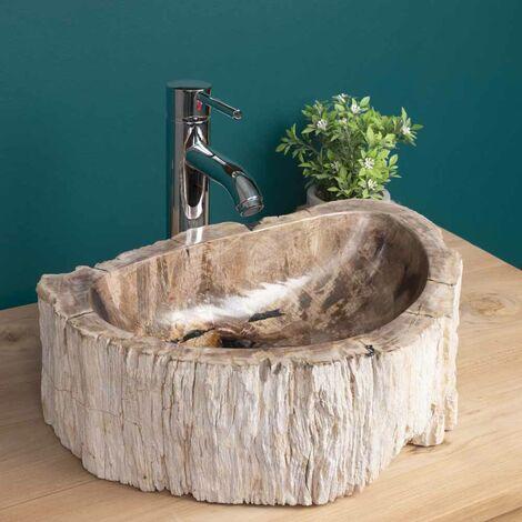 lavabo sobre encimera de madera fosilizada 40 cm