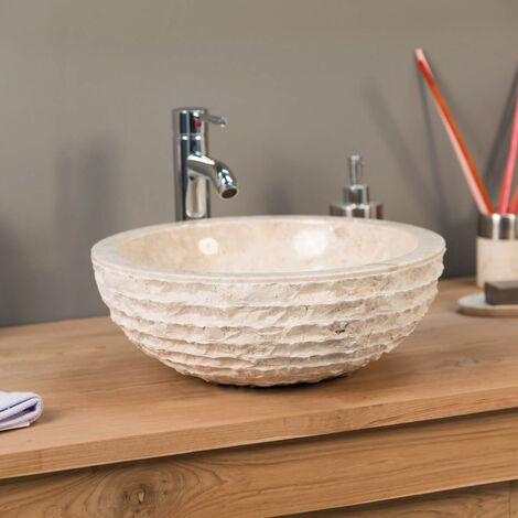 lavabo sobre encimera de mármol cuarto de baño VESUBIO crema 40 cm