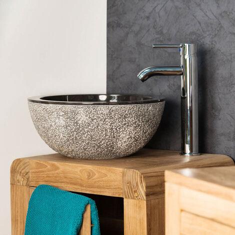 lavabo sobre encimera de mármol ESTRÓMBOLI negro 35 cm