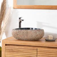 lavabo sobre encimera de piedra natural PIEDRA DE RÍO 40 CM