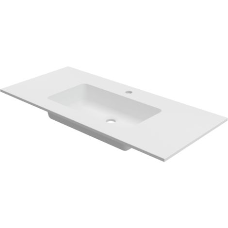 Lavabo sobre encimera empotrado 100x46 cm Solid Surface CARDIFF