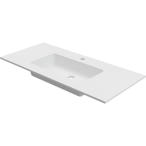 Lavabo sobre encimera empotrado 80x46 cm Solid Surface CARDIFF