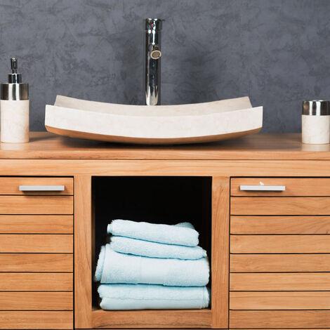 lavabo sobre encimera grande crema 50 cm rectángulo de mármol GÉNOVA pulido