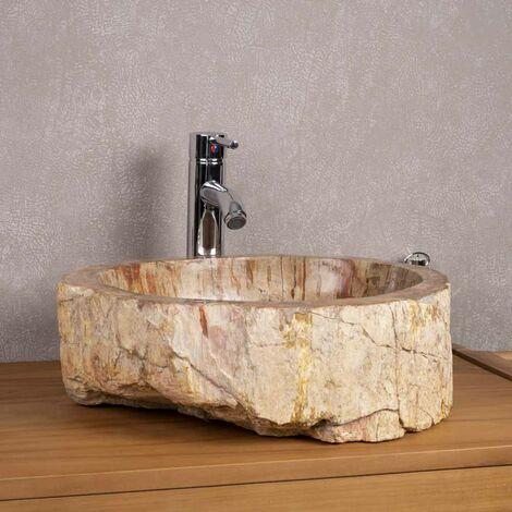 lavabo sobre encimera grande de madera fosilizada