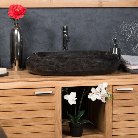 lavabo sobre encimera grande de mármol MURANO color negro