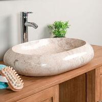 lavabo sobre encimera grande de mármol MURANO crema 60 cm