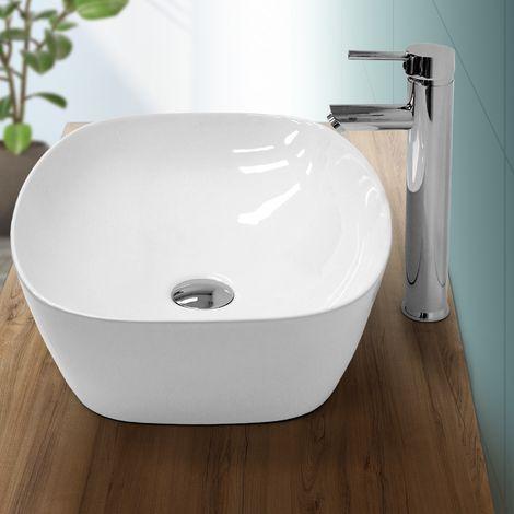 Lavabo sobre encimera ovalado lavamanos ceramica blanca baño aseo 505 x 385 mm