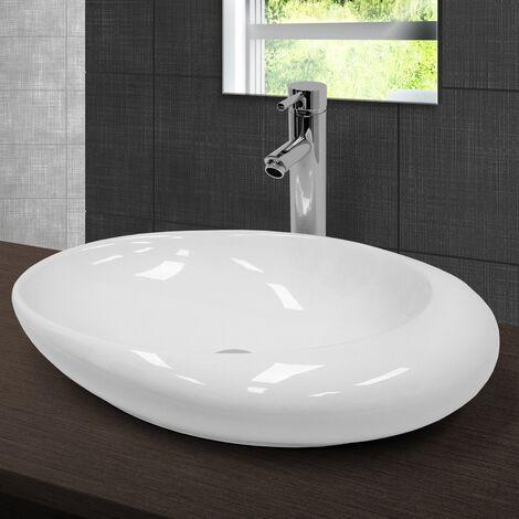 Lavabo sobre encimera ovalado lavamanos ceramica blanca baño aseo 585 x 375 mm
