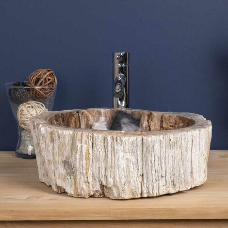 Lavabo Sobre Encimera Para Cuarto De Baño De Madera Petrificada Fosilizada  Interior Pulido 55 Cm