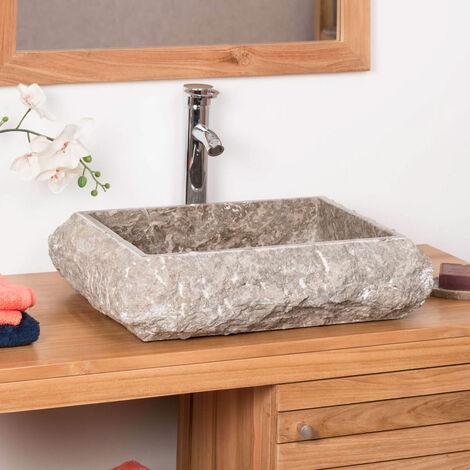 Lavabo sobre encimera rectángulo de mármol Nápoles gris