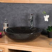 lavabo sobre encimera redondo BARCELONA de mármol color negro - Diámetro 45 cm