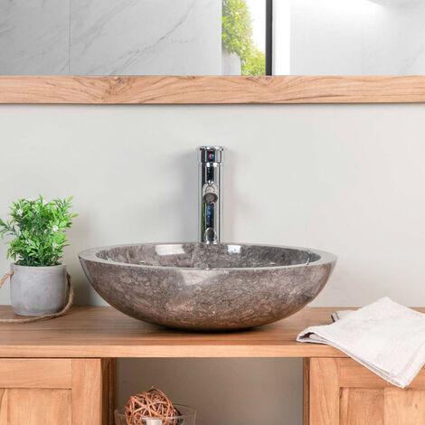 lavabo sobre encimera redondo BARCELONA de mármol gris 45cm