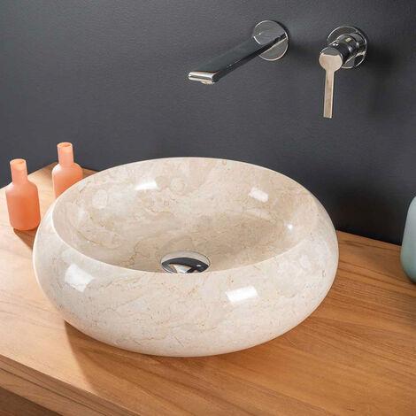 lavabo sobre encimera redondo de mármol VENECIA crema 40 cm