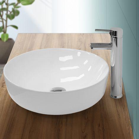 Lavabo sobre encimera redondo lavamanos ceramica blanca baño aseo 400 x 135 mm