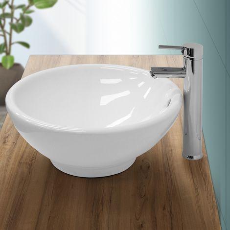 Lavabo sobre encimera redondo lavamanos ceramica blanca baño aseo 420 x 170 mm