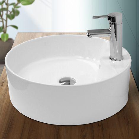 Lavabo sobre encimera redondo lavamanos ceramica blanca baño aseo 460 x 155 mm