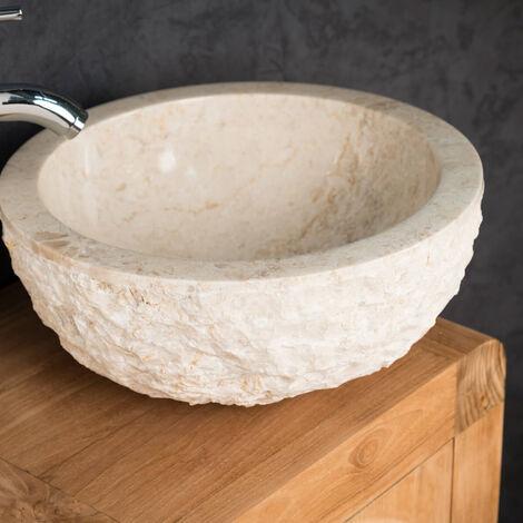 lavabo sobre encimera ROMA de mármol crema 35 cm
