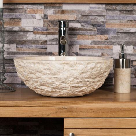 lavabo sobre encimera ROMA de mármol crema 40 cm