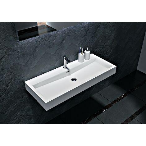 Lavabo sospeso o da appoggio in marmo artificiale BS6002 - bianco - 76,5 cm e 100cm:76.5cm - con preforatura