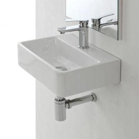 Lavabo suspendido 40x29,5x11,5 cm en cerámica blanca brillante | Blanco - Standard