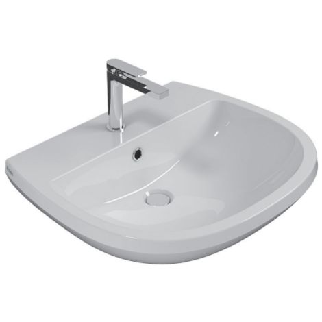 Lavabo suspendido 65x55 cm de cerámica Globo Arianna | Blanco brillo