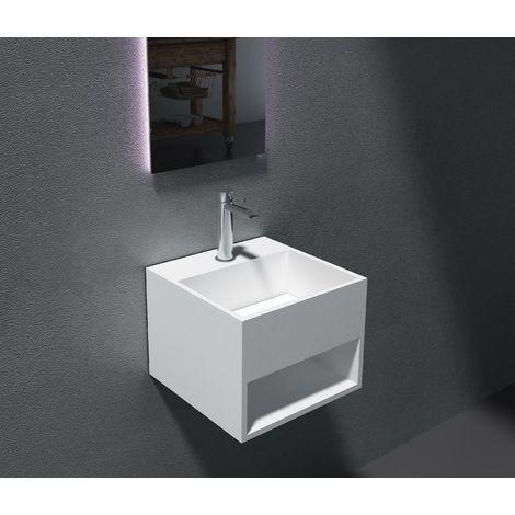 Lavabo suspendido con espacio de almacenamiento PB2035 -32,5 x 32,5 x 25 cm en resina sintética (Solid Stone)