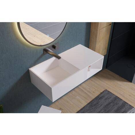 Lavabo suspendido con espacio de almacenamiento PB2037 - 80 x 40 x 20 cm en resina sintética (Solid Stone)