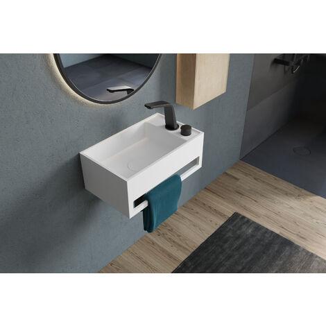 Lavabo suspendido con toallero integrado PB2077 de piedra sólida - 50 x 30 x 20 cm - blanco mate