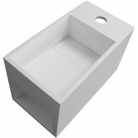Lavabo suspendu avec espace de rangement PB2046 en résine de synthèse (Solid Stone) - 33 x 18 x 20,5 cm – blanc mat