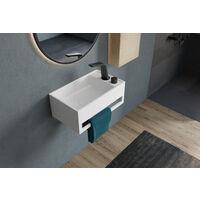 Lavabo suspendu avec porte-serviettes intégré PB2077 en pierre solide - 50 x 30 x 20 cm -blanc mat