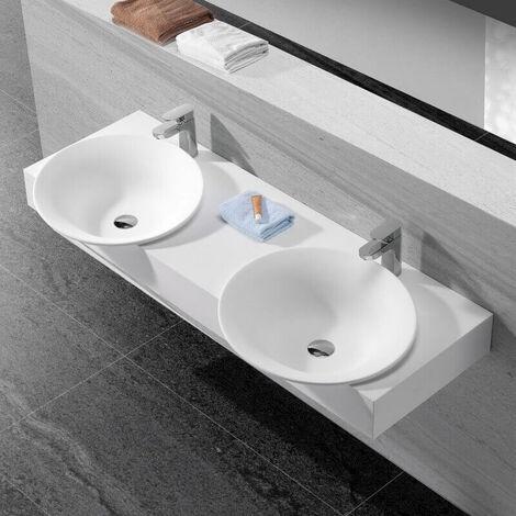 Lavabo Suspendu Double Vasque - Solid surface Blanc Mat - 140x47 cm - Effect