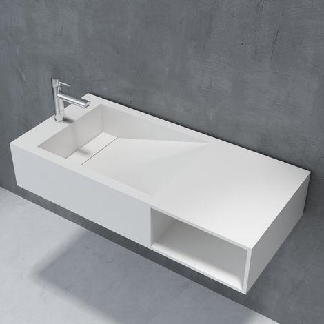 Lavabo suspendu ou vasque à poser en pierre de synthèse espace de rangement PB2089 100x46x20cm- blanc mat