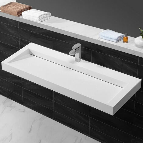 Lavabo suspendu rectangulaire - Solid surface Blanc mat - 120x45 cm - Urban