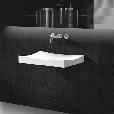 Lavabo Suspendu Rectangulaire - Solid surface Blanc Mat - 68x45 cm - Unic