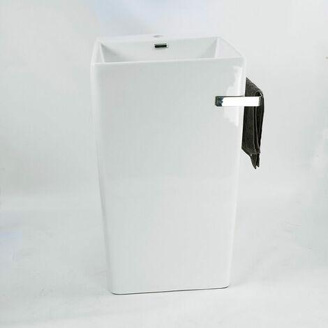 Lavabo Totem Carré - Céramique avec porte serviette - 48x87 cm - Alto +
