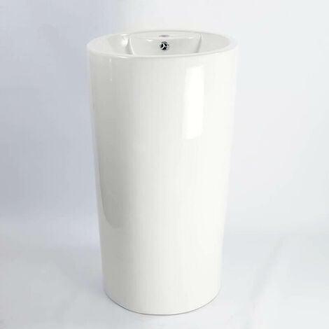 Lavabo Totem Cylindre - Céramique Blanc - 46x82 cm - Sigma