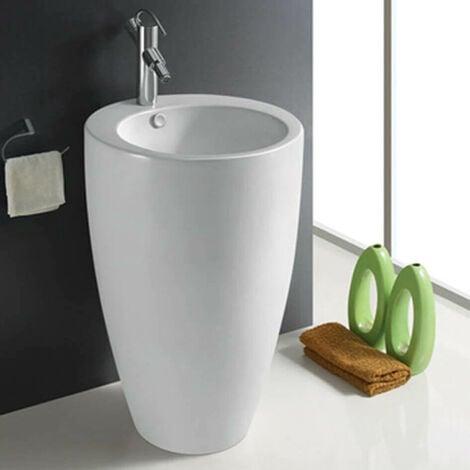 Lavabo Totem Rond - Céramique Blanc - 50x85 cm - Ove