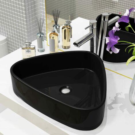 Lavabo triangular de cerámica negro 50,5x41x12 cm