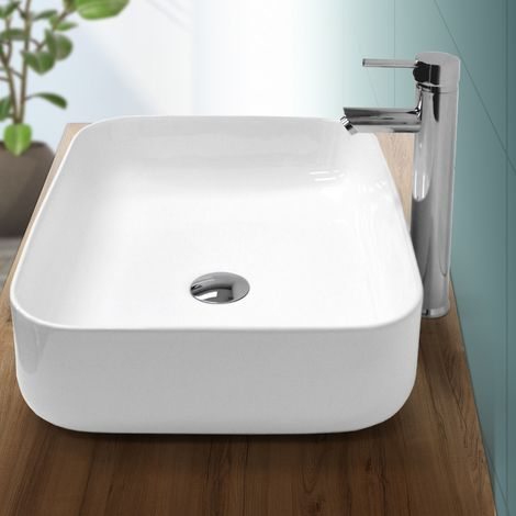Lavabo vasque à poser céramique lave-main salle de bain blanc 505 x 395 x 135 mm