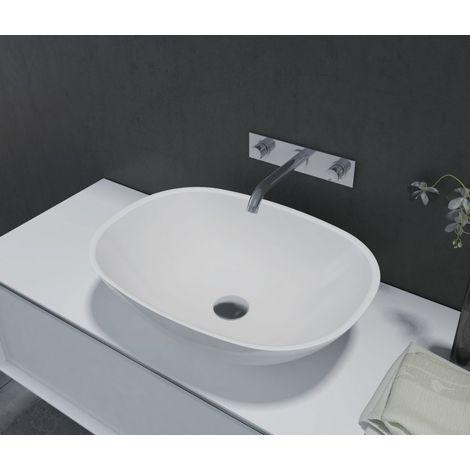 Lavabo / vasque en fonte minérale, ovale à poser PB2202 - 55 x 40 x 15cm