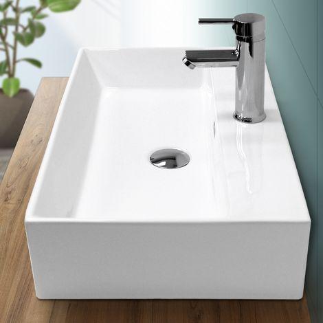 Lavabo vasque salle de bain en céramique suspendu / à poser angulaire 605x365mm