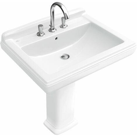 Lavabo Villeroy und Boch Hommage 7101A2 650x530mm, blanco, con rebosadero, adecuado para grifería de 3 agujeros, color: Cerámica Blanca - 7101A2R1