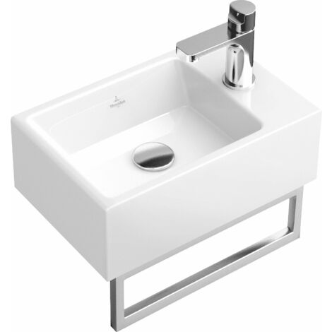 Lavabo Villeroy und Boch Lavabo de mano Memento 533341 400x260mm, blanco, sin rebosadero, apto para grifería de 1 agujero, color: Blanco - 53334101