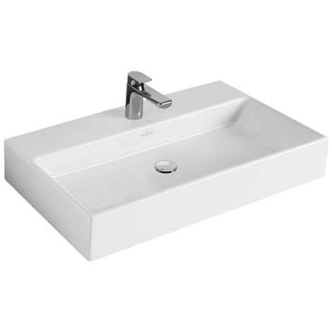 Lavabo Villeroy und Boch Lavabo Memento 51338L 800x470mm, blanco, con rebosadero, adecuado para grifería de 3 agujeros, parte inferior pulida, color: Blanco - 51338L01