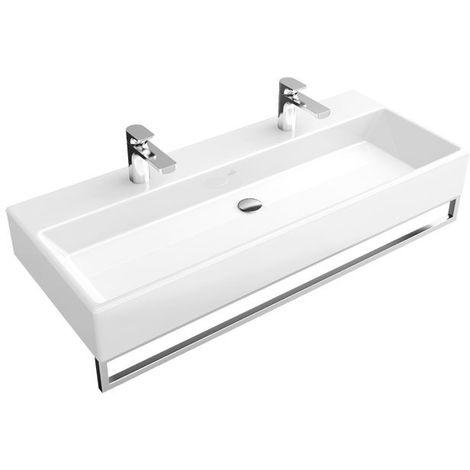 Lavabo Villeroy und Boch Lavabo Memento 5133C4 1200x470mm, blanco, con rebosadero, apto para dos griferías de 1 agujero, color: Blanco - 5133C401