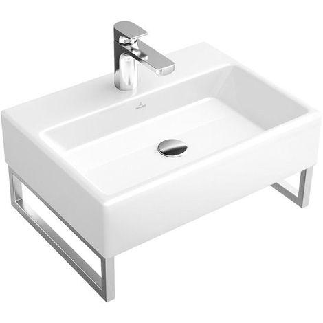 Lavabo Villeroy und Boch Memento 513352 500x420mm, blanco, con rebosadero, apto para mezclador de pared, color: Blanco - 51335201