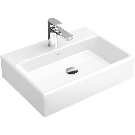 Lavabo Villeroy und Boch Memento 51335F 500x420mm, blanco, sin rebosadero, apto para mezclador de pared, parte inferior lijada, color: Blanco - 51335F01